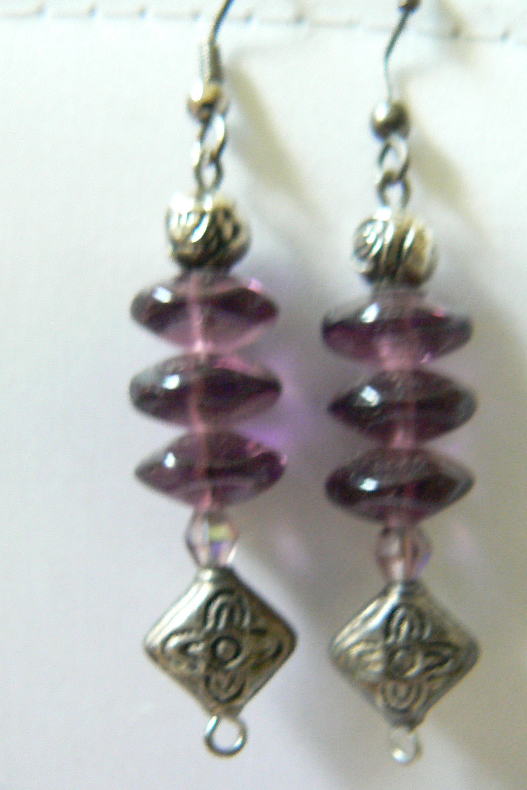 Primary image for PURPLE AMETHYST STONE BEADS DANGLE CHARMING DROP EARRINGS