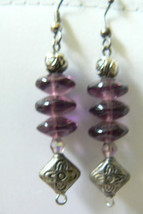 PURPLE AMETHYST STONE BEADS DANGLE CHARMING DROP EARRINGS - $23.20