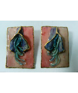 Lacombe 1980 signed Retro Abstract Modern Whimsy floral figural Earrings... - $63.20