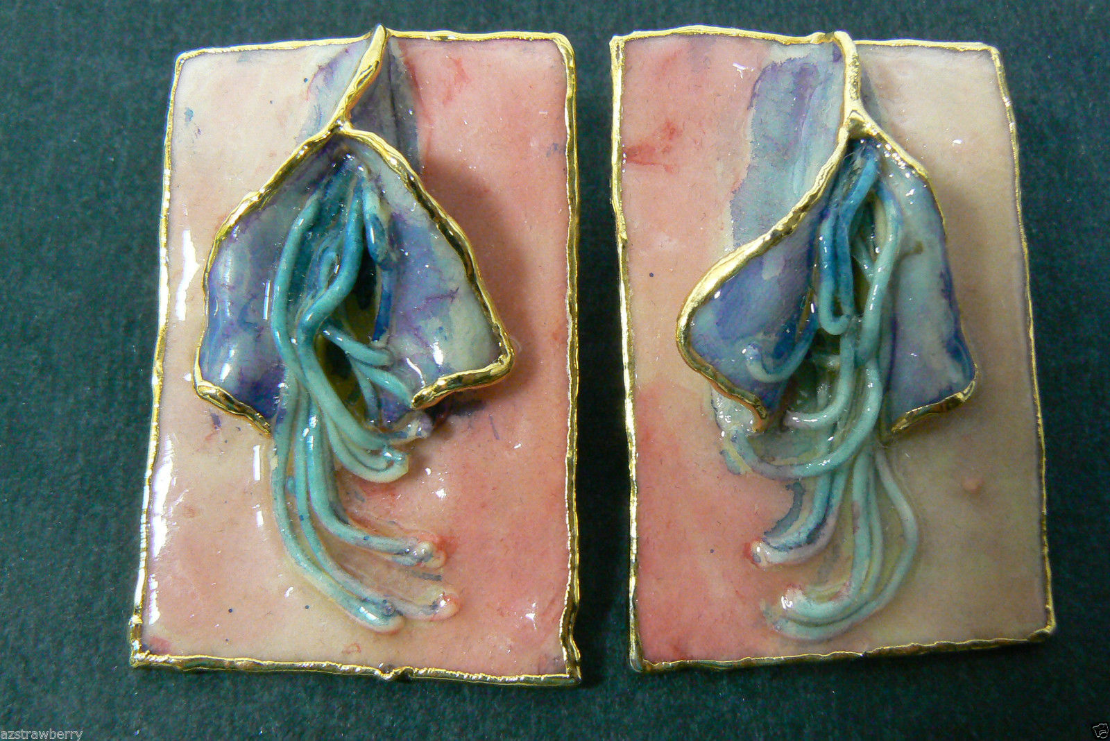 Lacombe 1980 signed Retro Abstract Modern Whimsy floral figural Earrings Large