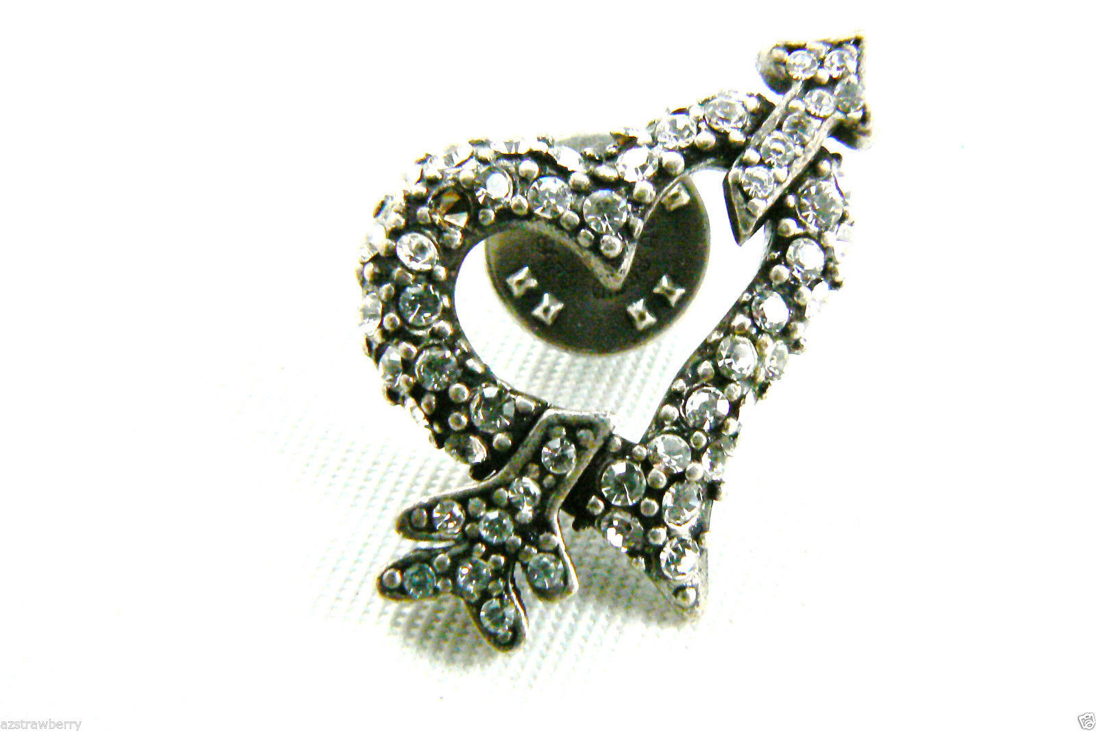 Primary image for Chico's Silver Tone Crystal Rhinestones heart & arrow tack pin signed