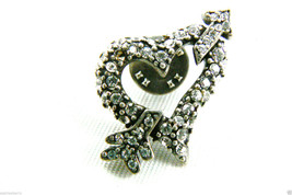 Chico's Silver Tone Crystal Rhinestones heart & arrow tack pin signed - $29.95