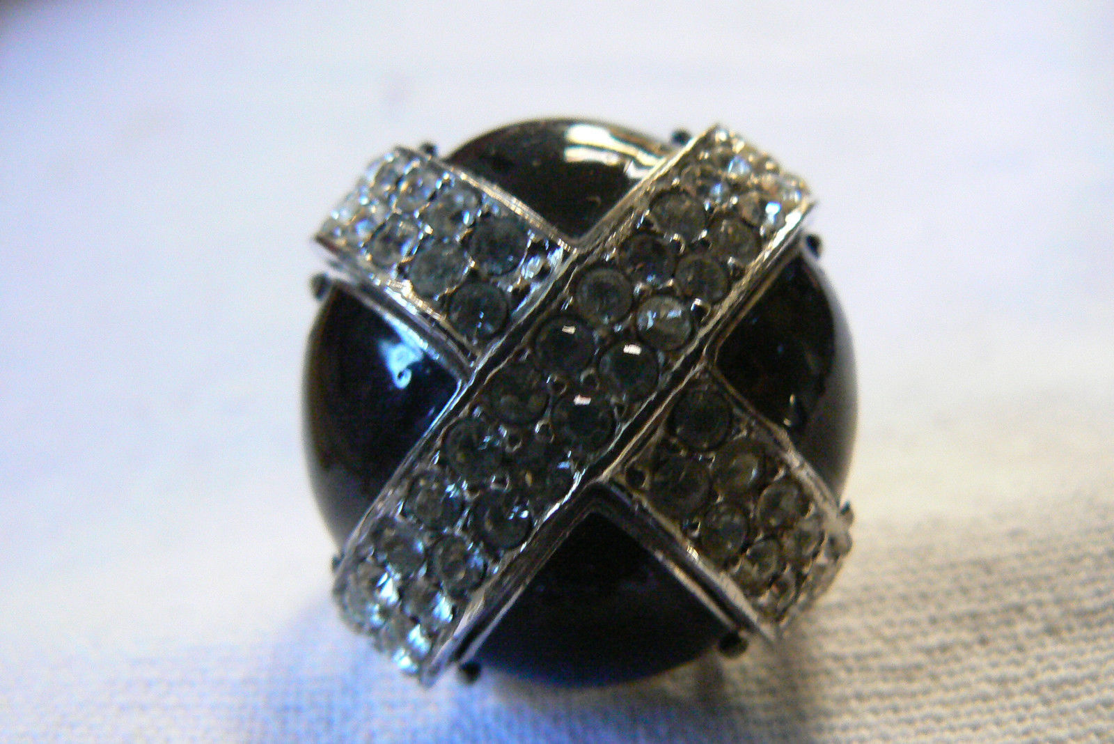 Silver Tone Black Clear Crystal Cross Mushrom Dome Large Fashion Ring sz 8.5 - $35.00