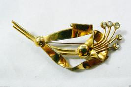 VTG Gold Wash Sterling Silver Clear Crystal Rhinestones Floral Flower Pi... - $89.00