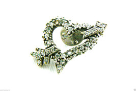 Chico's Silver Tone Crystal Rhinestones heart & arrow tack pin signed image 2