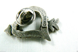 Chico's Silver Tone Crystal Rhinestones heart & arrow tack pin signed image 3