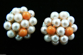 Vintage Japan Pink Pearl Faux Beads Cluster Round Or Dome Clip On Earrings - $31.96