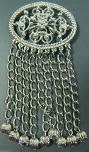 VINTAGE SARAH COVENTRY COV SILVER TONE OVAL FLORAL CHAIN FRINGE BALL PIN... - $25.00