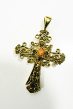 Beautiful Fashion Gold Tone Filigree Topaz Crystal Cross Pendant - $35.00
