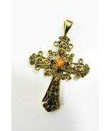 Beautiful Fashion Gold Tone Filigree Topaz Crystal Cross Pendant - $35.00