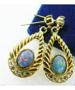 Gold tone metal Oval Fire Opal Clear crystal Fashion drop earrings - $39.20