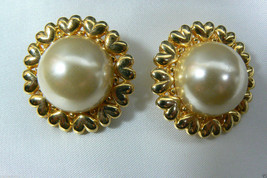 Gold Tone Herat Wreath Pearl Faux Large Round Clip On Earrings - $31.20