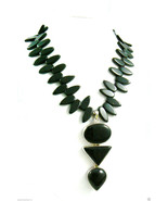 Sterling silver 925 toggle clasp Drop Pedant Black Onyx Petals Necklace - $183.20
