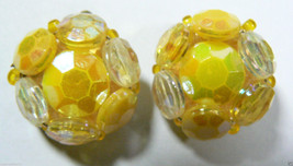 Vintage West Germany Yellow Beads Gold Tone Clip On Earrings - $24.00