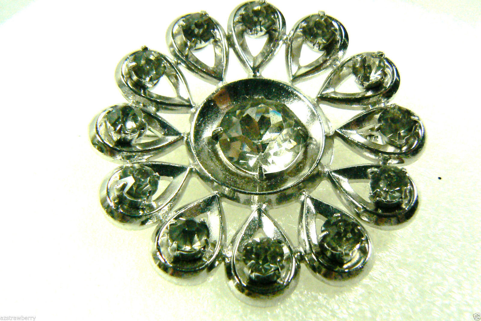 Primary image for Vintage 1950's Silver tone metal Clea crystal rhinestones Flower pin brooch $0 s