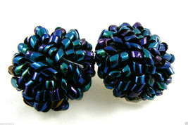 Vintage Blue Shimmer Small Glass Beads Round Or Dome Clip On Earrings - $55.96