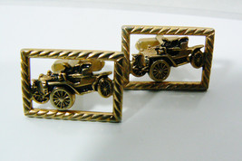 VINTAGE OLD RETRO CAR  GOLD TONE CUFF LINKS - $35.10