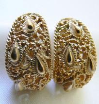 Vintage gold tone metal filigree Crown Trifari signed half moon clip ear... - $31.99