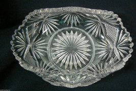 Vintage Clear cut Glass Small dish bowl bent si... - $42.00