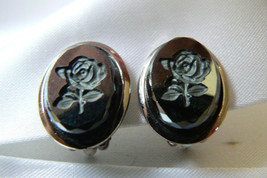 Vintage Oval Silver Tone Black Hematite Stone Rose Flower Cameo Clip On Earrings - $28.00