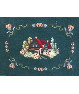 """Framed needlepoint  lovely Cottage wall art finished 17.5""""x14.5"""" green f... - $72.00"""