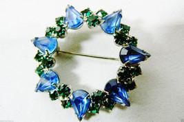 VINTAGE SILVER TONE BLUE & GREEN CRYSTAL RHINESTONES PIN BROOCH  WREATH - $35.00