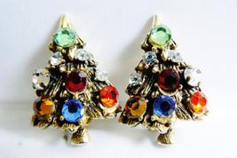 VTG silver tone Festive color crystal Rhinestones Christmas tree clip ea... - $31.96
