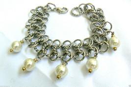 """Silver tone Link White pearl faux charm beads bracelet 7.5""""L - $55.20"""