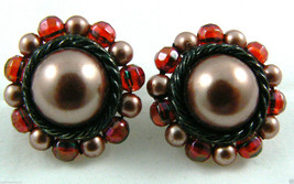 Vintage Pink Pearl Faux Beads Cluster Round  Clip On Earrings - $31.96