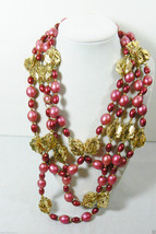 """Endless 94""""L Pink GoLd tone filigree spacers beads necklace - $31.20"""