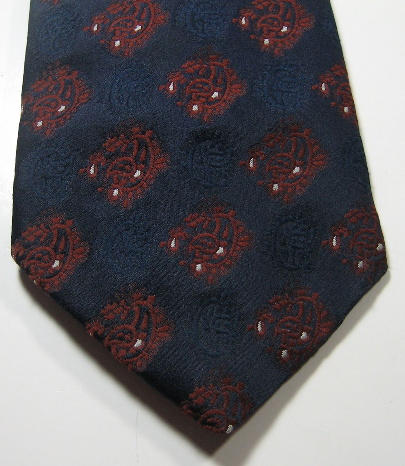 Primary image for RIPLEY KINGCRAFT Collection Rich Navy Brown Unique Wide  Vintage Tie RARE