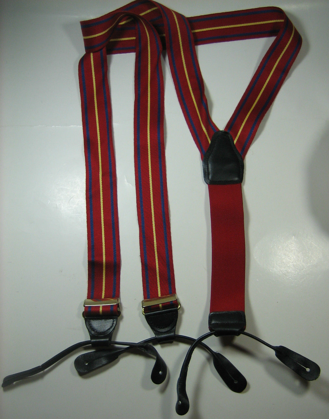 Primary image for CAS GERMANY Rich Red Navy Yellow Stripe Suspenders Soft Gold Braces RARE