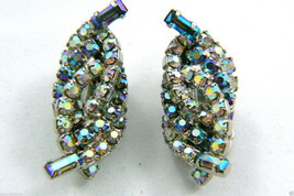 Vintage Silver Tone Aurora Borealis Rhinestone Crystal clip on Earrings $0 sh - $63.96