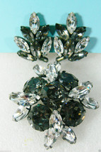 Fancy Gorgeous round & marquis cut crystal stones Pin Brooch & clip on E... - $71.20