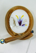 Vintage Oval Milk Glass Painted Floral Gold Tone Mesh Frame Borealis Cry... - $35.00