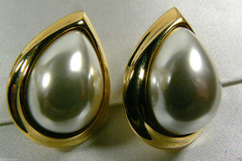 NAPIER ELEGANT GOLD TONE WHITE PEARL FAUX TEARDROP SCREW CLIP EARRINGS - $55.96