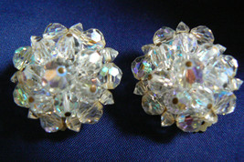 Vintage Laguna Aurora Borealis Crystal beads Round Cluster clip on Earrings - $71.96