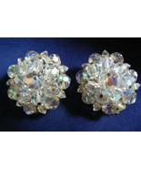 Vintage Laguna Aurora Borealis Crystal beads Round Cluster clip on Earrings - $71.96