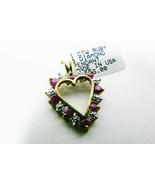 1 ctw genuine Ruby & Diamond 10k yellow gold Heart Pendant $385 New $0 ship - $289.00