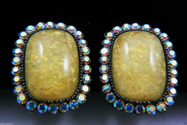 SNK Aurora Borealis Crystal Yellow Shimmer stone Clip on Earrings signed $0 sh - $119.20