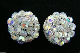 Vintage Aurora Borealis Crystal beads Cluster Silver tone clip on Earrin... - $63.96