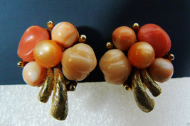 Fantastic ART Vintage multi color Cream orange gold tone metal clips on earrings - $55.96