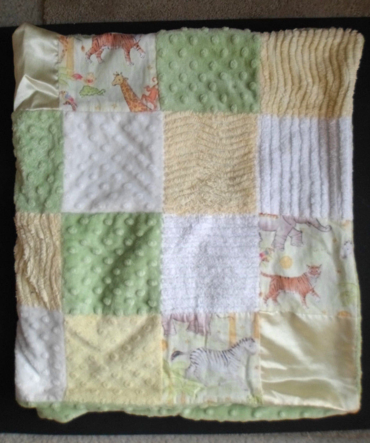 Primary image for Animal Print Baby Blanket Chenille Satin Stella Bella  Green Yellow Patchwork
