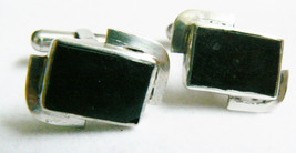 VINTAGE ELEGANT STERLING SILVER BLACK ONYX CUFF LINKS - $80.10