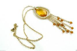Vintage Nolan Miller Gold tone metal Teardrop Clip Pendant chain necklac... - $127.20