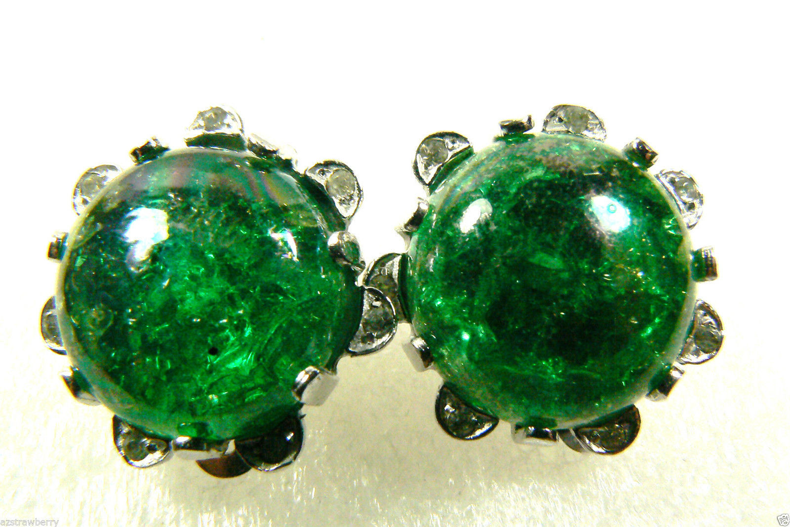 Primary image for NETTIE ROSENSTAIN SIGNED SILVER TONE ROUND GREEN CLIPS EARRINGS $0 SHIP