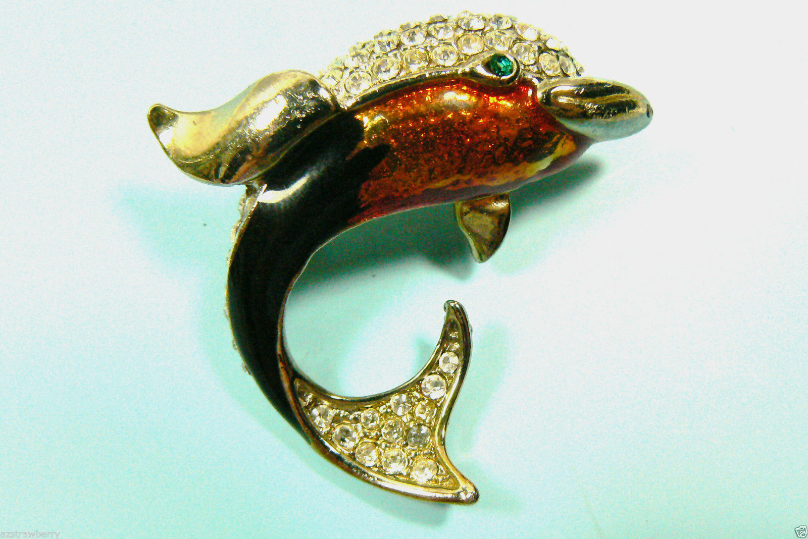 Primary image for Vintage Orange Black enamel Green Eye Clear crystal Dolphin Pin Brooch