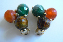 Vintage Kramer signed Gold tone metal Multi-color three bead Clips Earrings - $31.96