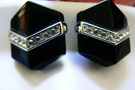 VINTAGE TRIFARI SIGNED SILVER TONE CLEAR CRYSTAL BLACK CLIP ON EARRINGS - $55.20