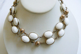 "Vintage Trifari Signed Tag Gold Tone White Stones Link Necklace 32""L - $76.00"